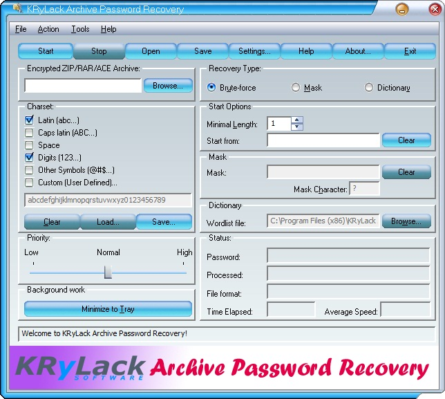 KRyLack Archive Password Recovery