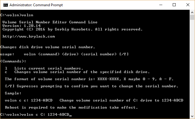 Volume Serial Number Editor Command Line Screen shot