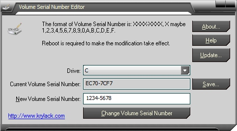 Click to view Volume Serial Number Editor 1.77 screenshot